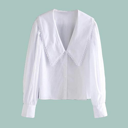 Branco Chique - Poplin Shirt with Pom Pom Collar