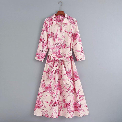 Brazil - Vintage Style Pink and White Dress with Belt in Midi Length