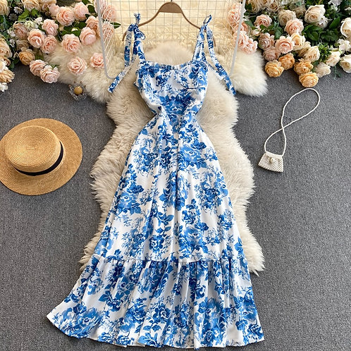 Nisi - Blue and White Sling Dress