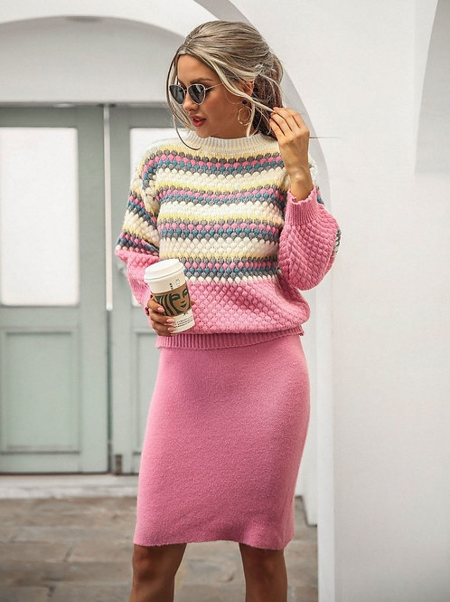 Colourful Sweater Suit - Skirt and Sweater set