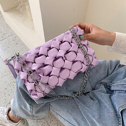 Daphne Woven Leather handbag - Women's bag in Lilac