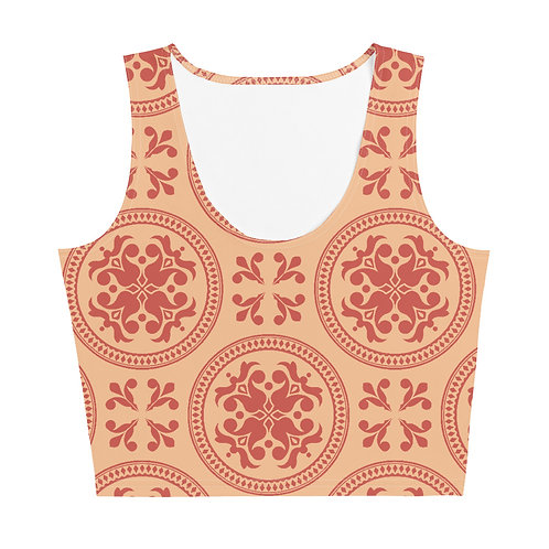 Aphrodite - Red and Beige Lace Design Workout Cropped Top