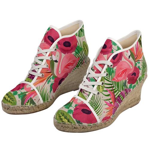 Flamingo - Floral Lace up Handmade Espadrille Wedges