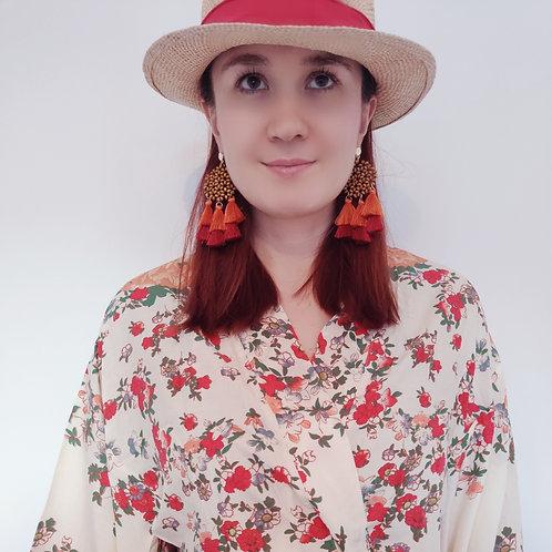 Red Carnival Earrings - Colourful Earrings with Tassels
