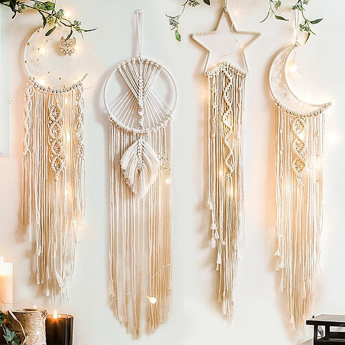 Handmade Macrame Wall Boho Decor - Moon Star Dreamcatcher Leaves