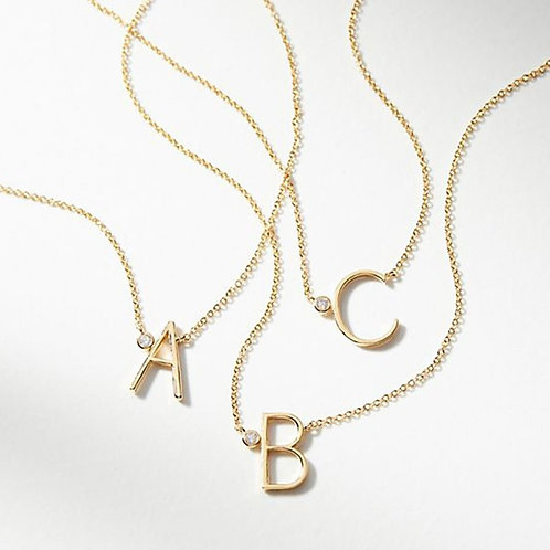 Gold-Plated Monogram Necklace - Pendant with Initial Letter