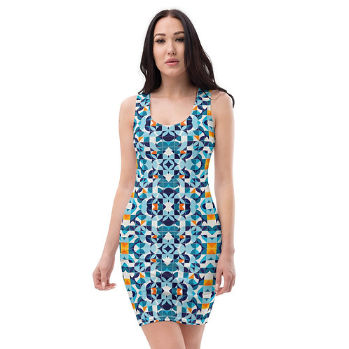 Azul - Colourful Designer Fitted Dress