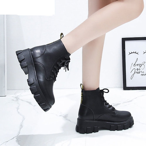 Bavaria Black Leather Style Lace Up Chunky Boots