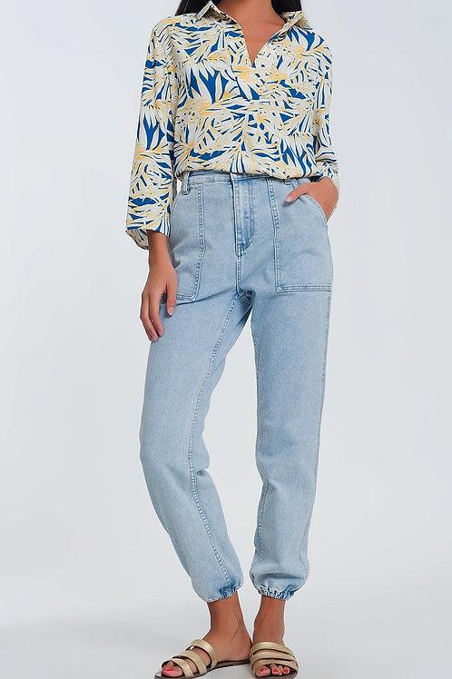 Womens Pocket Detail Jeans in Light Denim