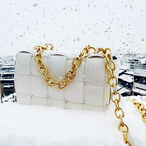 Athina Womens White Handbag with Gold Chain
