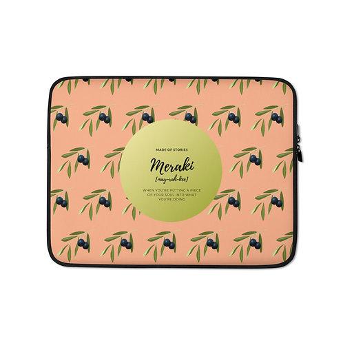 Gaia Laptop Case - Colourful Snug fit laptop sleeve with Greek word Meraki