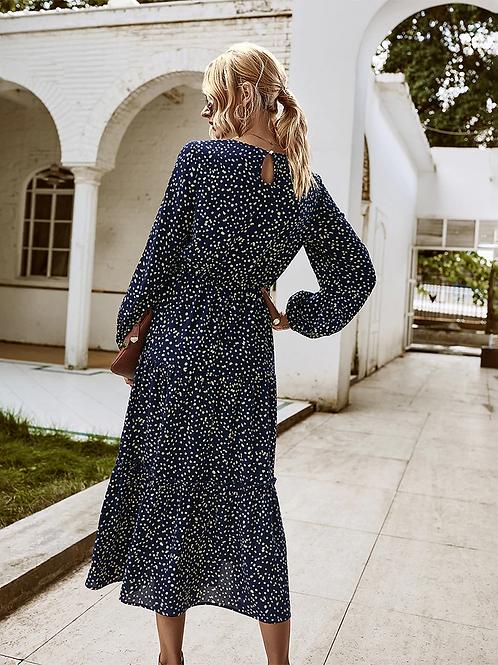 Zelda - Navy Blue Long Sleeve Midi Dress