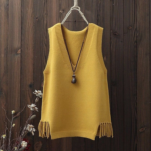 Moroccan Colourful Cities - Boho Sweater Vest with Tassels