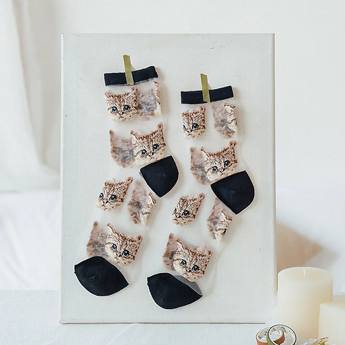 Elegant Silk Socks for Women with Cats