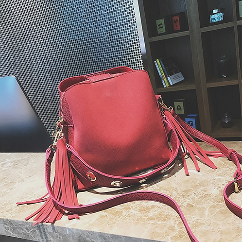 Berry Red Small Bucket bag with Tassels - Boho Style Bag