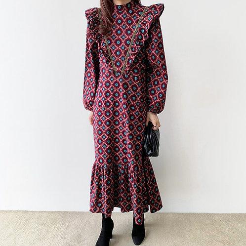 Zagora - Boho Flannel Dress with Ruffles