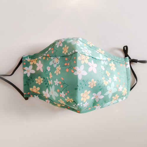 Green Floral Cotton Face Mask - Adjustable Face Covering