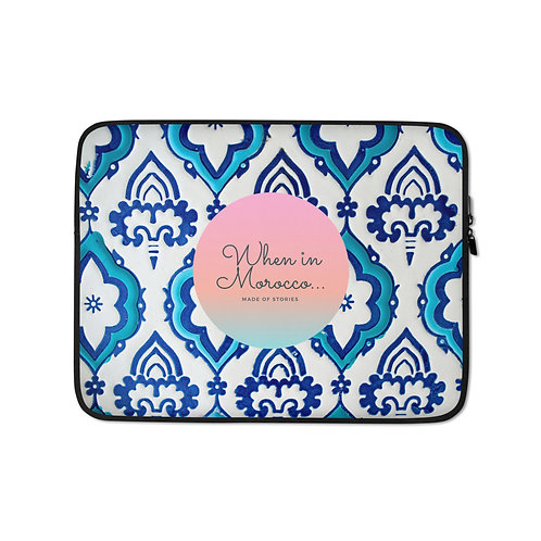 Tangier - boho style laptop case, colourful snug fit cover faux fur lining