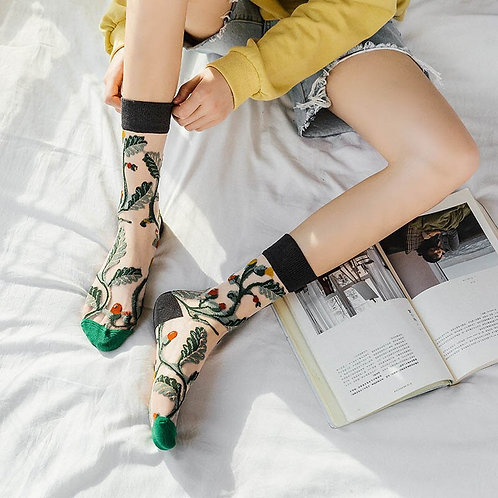 Elegant Floral Silk Socks for Women