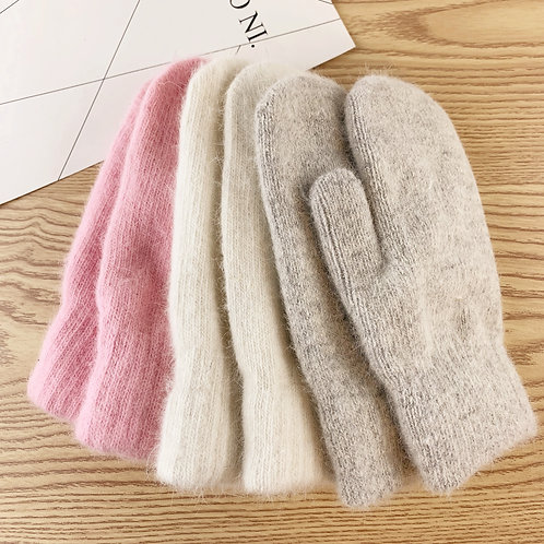 Double-Layer Winter Mittens - Wool Gloves