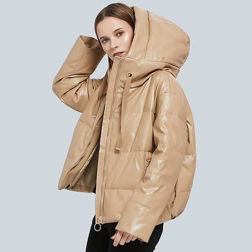 Hansel - Faux Leather Oversized Padded Coat for Women