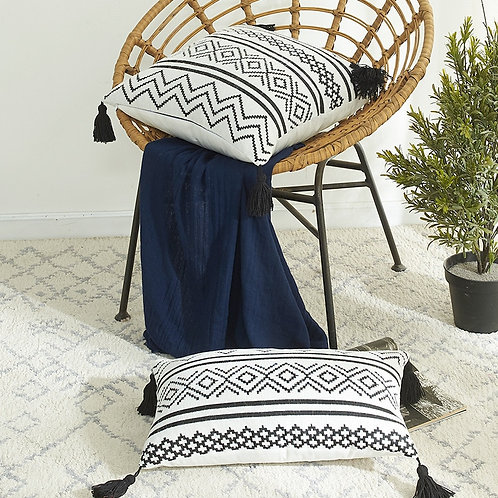 Moroccan Tassel Cushion Cover - Black and White Geometric Jacquard Pillowcase