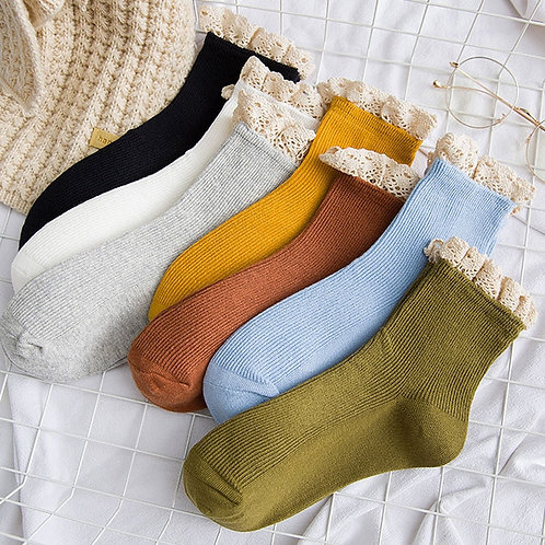 Lace Frilly Ruffle Socks for Women in Cotton-Rich Blend