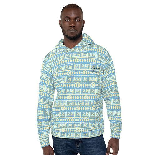 Made in Greece Hoodie Yellow blue sweatshirt with hood