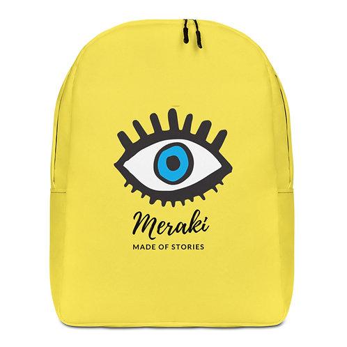 Meraki Backpack - Yellow blue eye backpack with Greek word Meraki - fits laptop