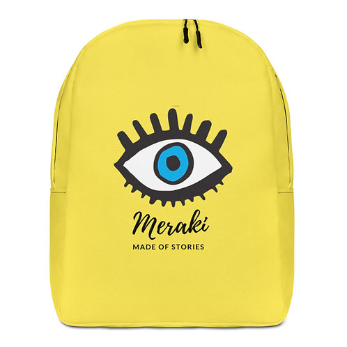 Designer Backpack - Yellow blue eye Backpack with Greek word Meraki
