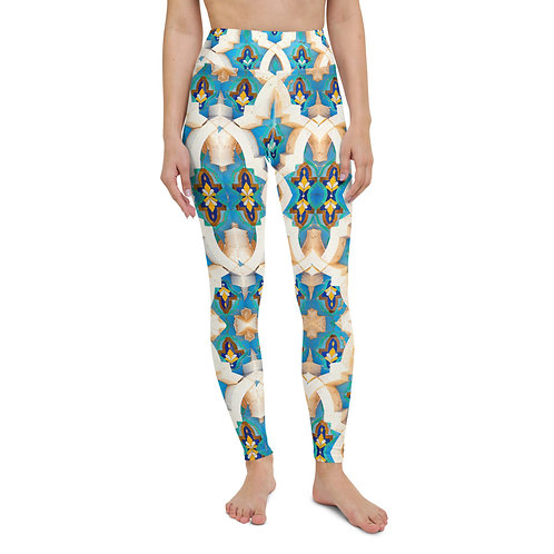 Casablanca - Boho Colourful High-Waisted Gym Leggings for Women Sports