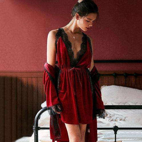 Belle - Velvet Night Dress Set with Dressing Gown - Velour PJ Set for Women