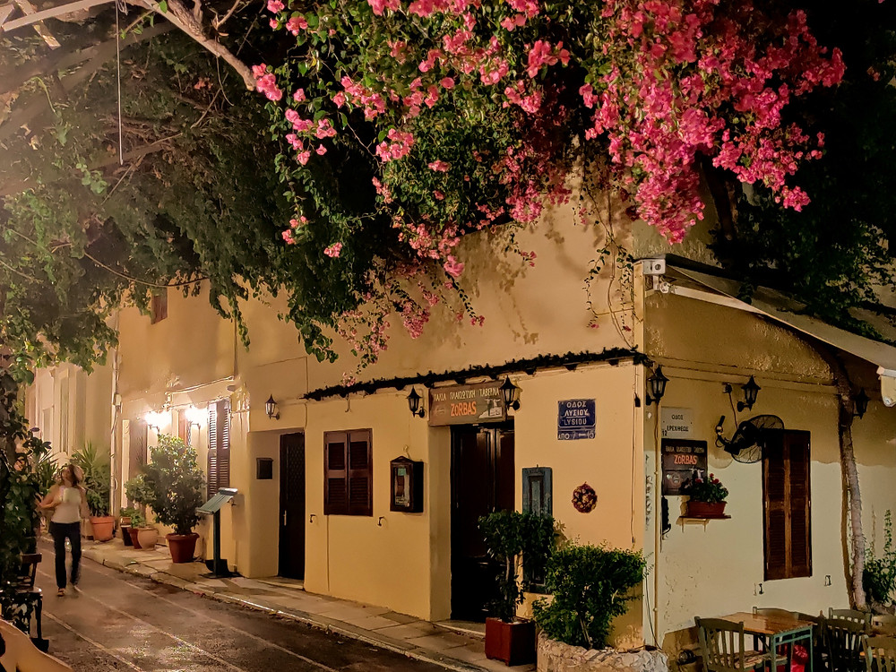 traditional Greek alleys in the night