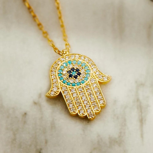 Gold Necklace With Evil Eye Pendant (Hamsa Hand)