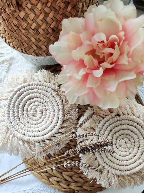 Bali - Pure Handmade Macrame Coasters - Boho Table Decor - Macrame Round Pads