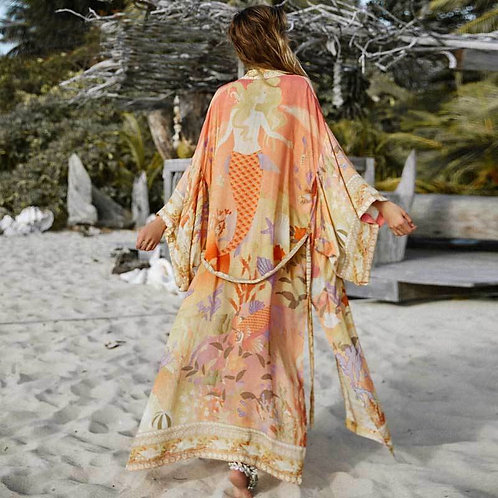 Aling - Colourful Kimono Dressing Gown for Women