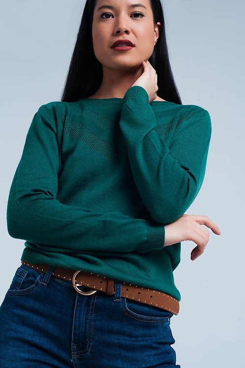 Womens Green Wool Sweater With Textured Detail
