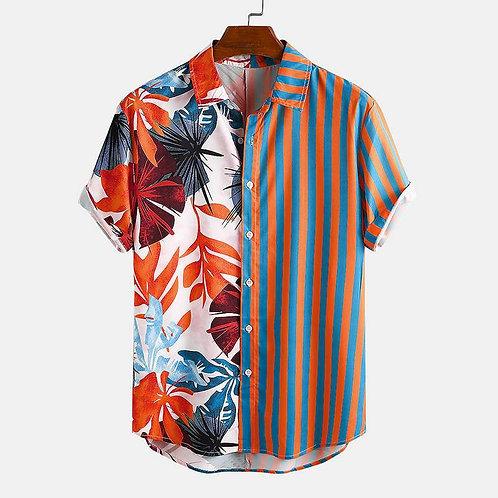 Brazil Floral & Striped Mens Shirt