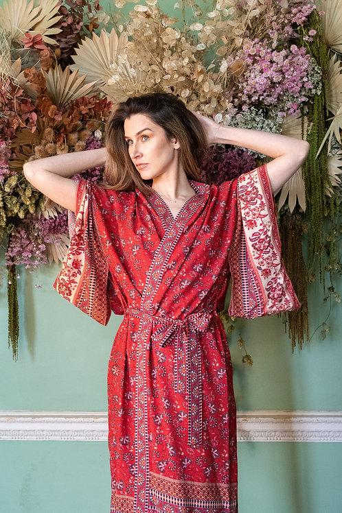 Morocco - Red Floral Kimono - Boho Dressing Gown