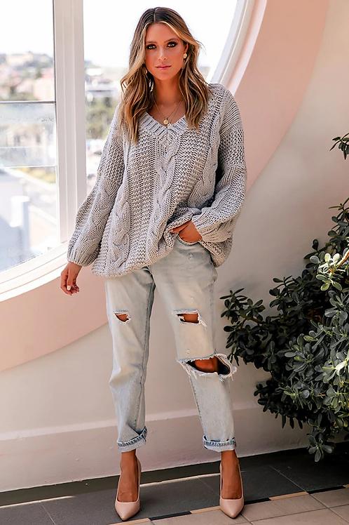 Grey Bohemian Sweater - Female Knitted Jumper