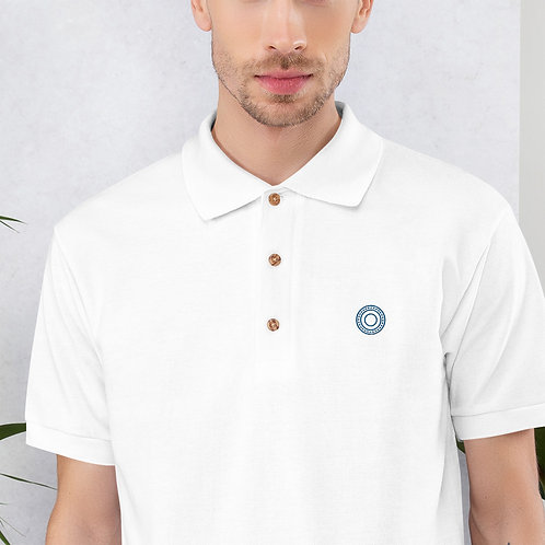 Opa - Embroidered White, Grey Cotton Polo Shirt - Classic Polo for Men