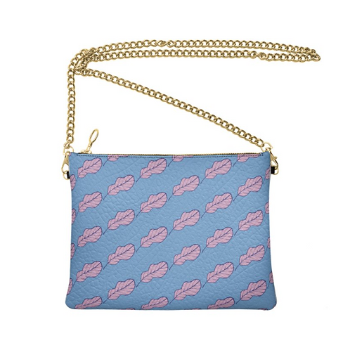 Folha azul Designer Bag - Handmade Real Leather Crossbody Bag