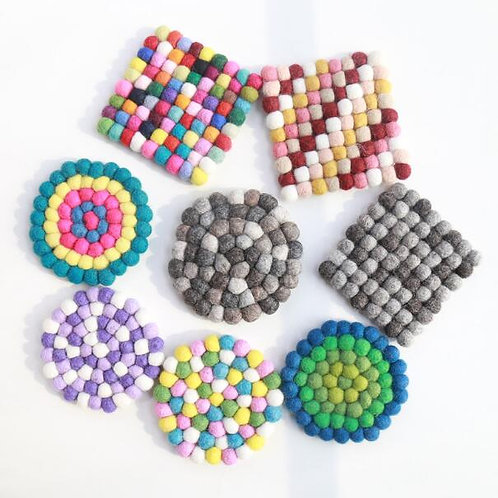 Morocco - Handmade Kitchen Pads - Felted Wool Coasters