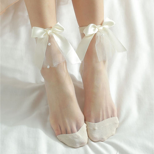 Pearl Lace Socks with Bows for Women