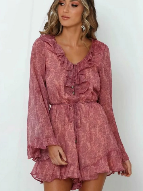 Gueliz - Boho Playsuit with Frilled Sleeves