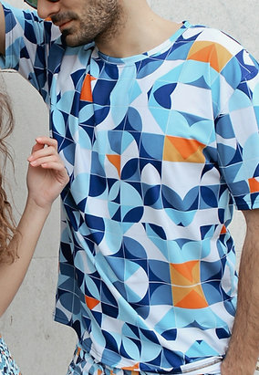 Made of Stories Azul Designer Men's T-shirt
