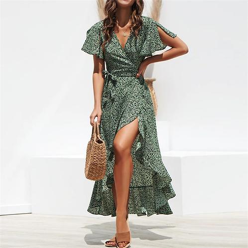 Abraco - Midi Wrap Dress with Ruffles