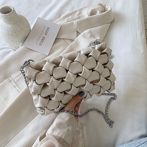 Daphne Woven Leather handbag - Women's bag in Beige