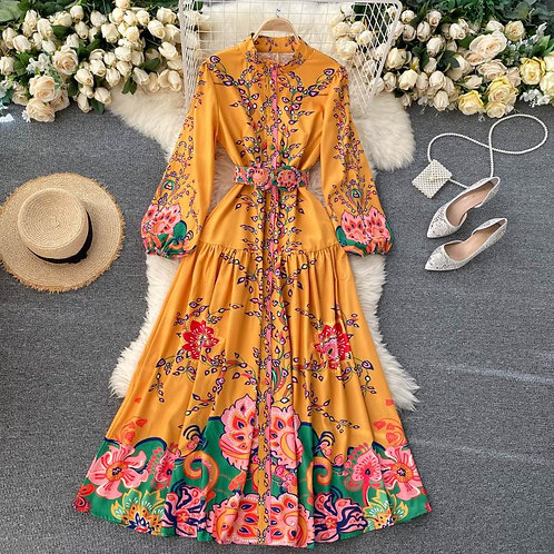 Paqueta - Yellow Floral Maxi Dress with Long Sleeves in Shirt Style
