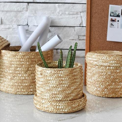 Bali - Set of Handmade Rattan Round Storage Baskets With Lid